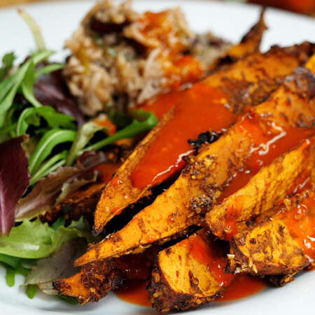 Sweet Potato Wedges with Rice and Peas